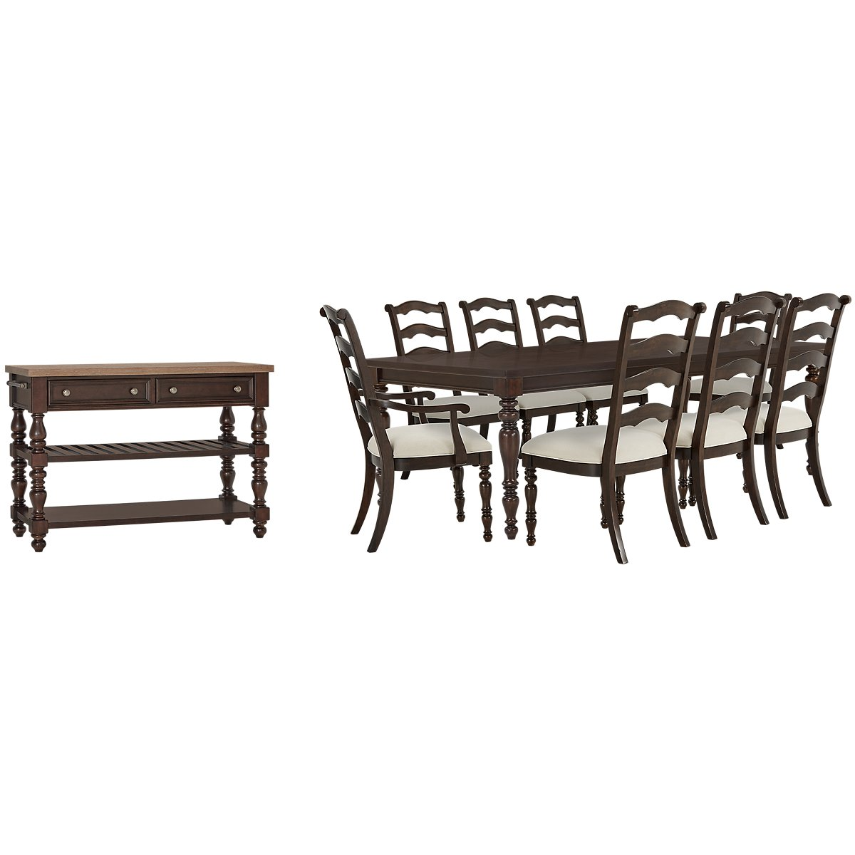 Savannah Dark Tone Wood Rect Dining Room