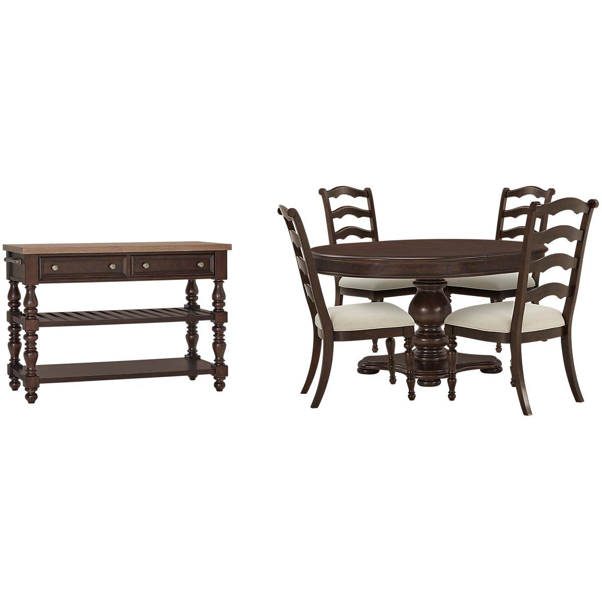 Savannah Dark Tone Wood Round Dining Room