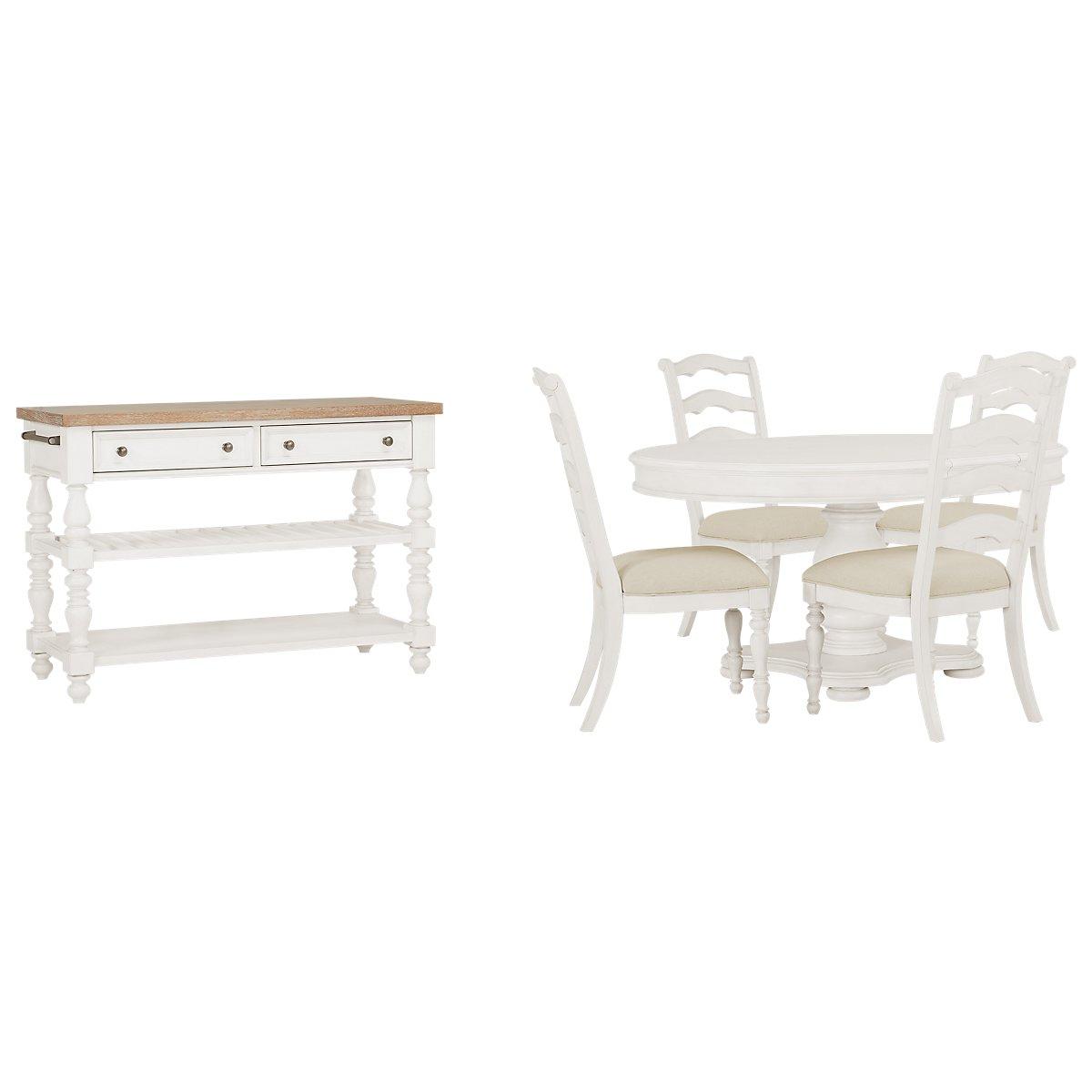 Savannah Ivory Wood Round Dining Room