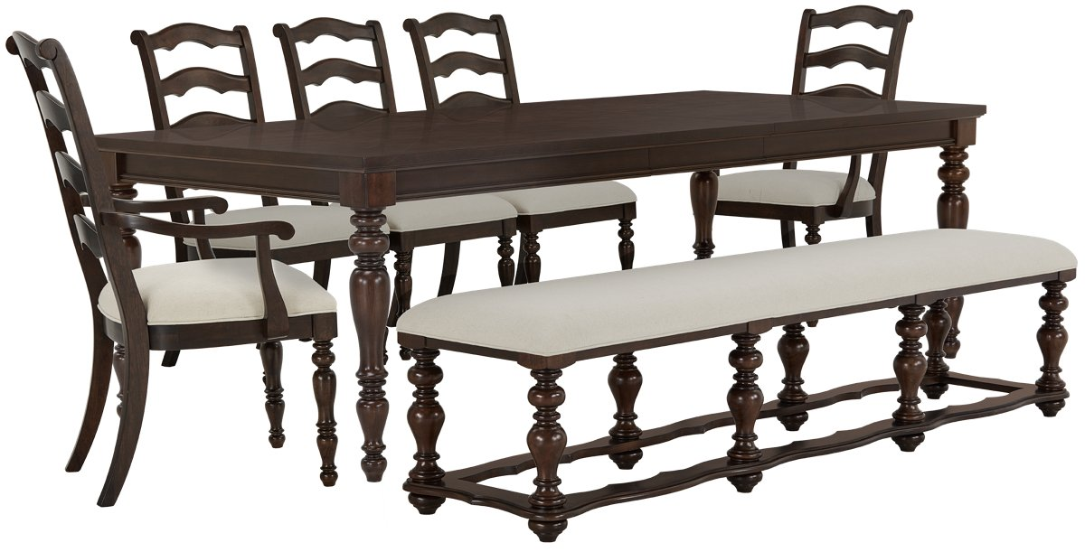 Savannah Dark Tone Rect Table, 4 Chairs & Bench