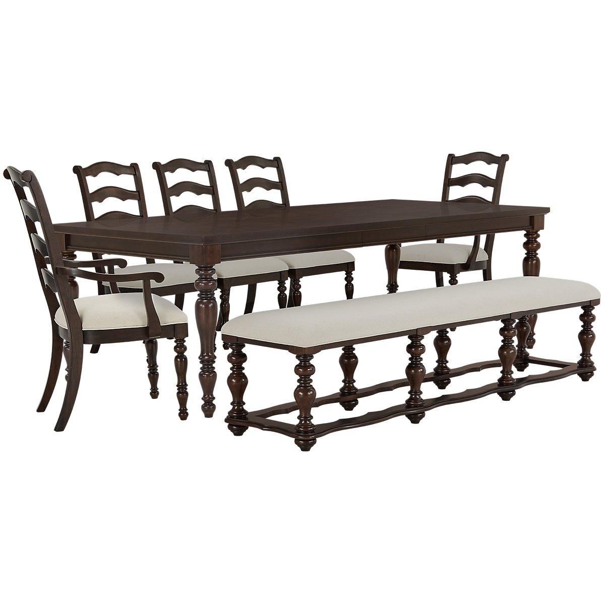 Savannah Dark Tone Wood Table, 4 Chairs & Bench