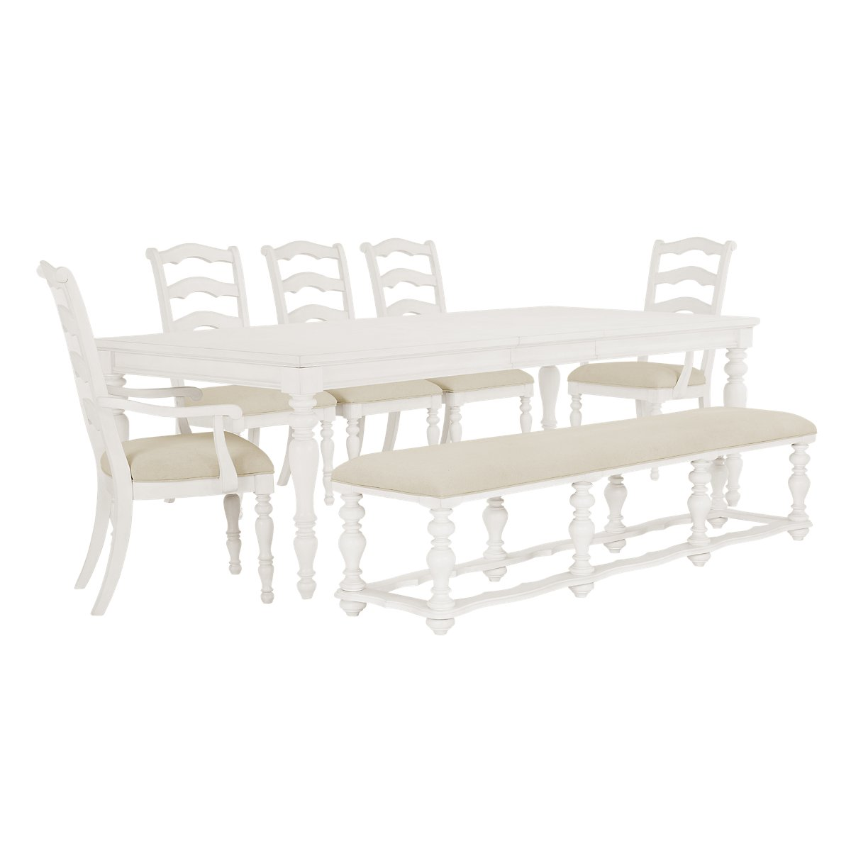 Savannah Ivory Wood Table, 4 Chairs & Bench