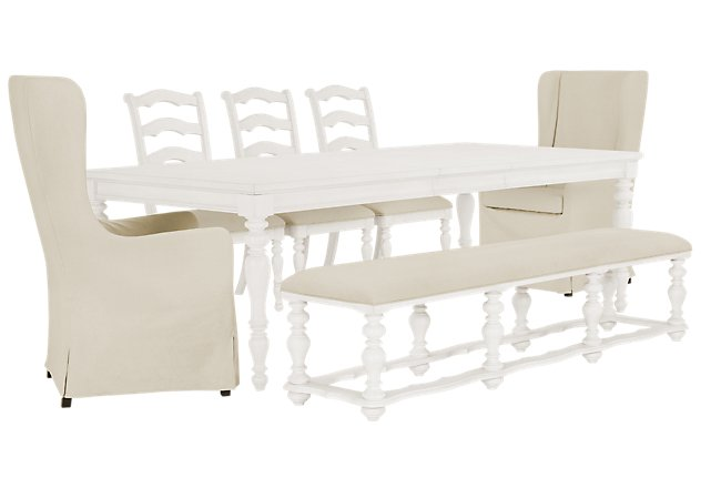 Savannah Ivory Wood Rectangular Table and Mixed Chairs