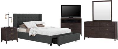 Chatham Dark Gray Low Platform Storage Bedroom Package