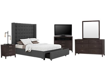 Chatham Dark Gray High Platform Storage Bedroom Package