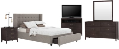 Chatham Pewter Low Platform Storage Bedroom Package