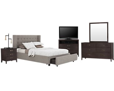 Chatham Pewter Low Platform Storage Bedroom Package