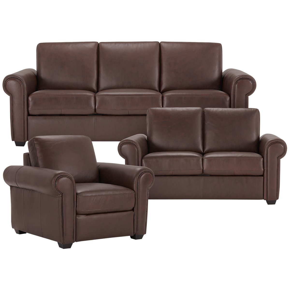 City Furniture Lincoln Medium Brown Leather Vinyl