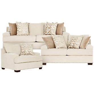 Grenada Beige Fabric Living Room