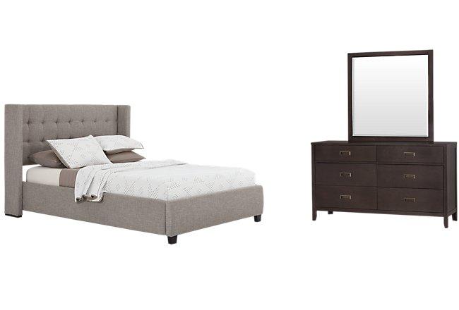 Chatham Pewter Fabric Platform Bedroom