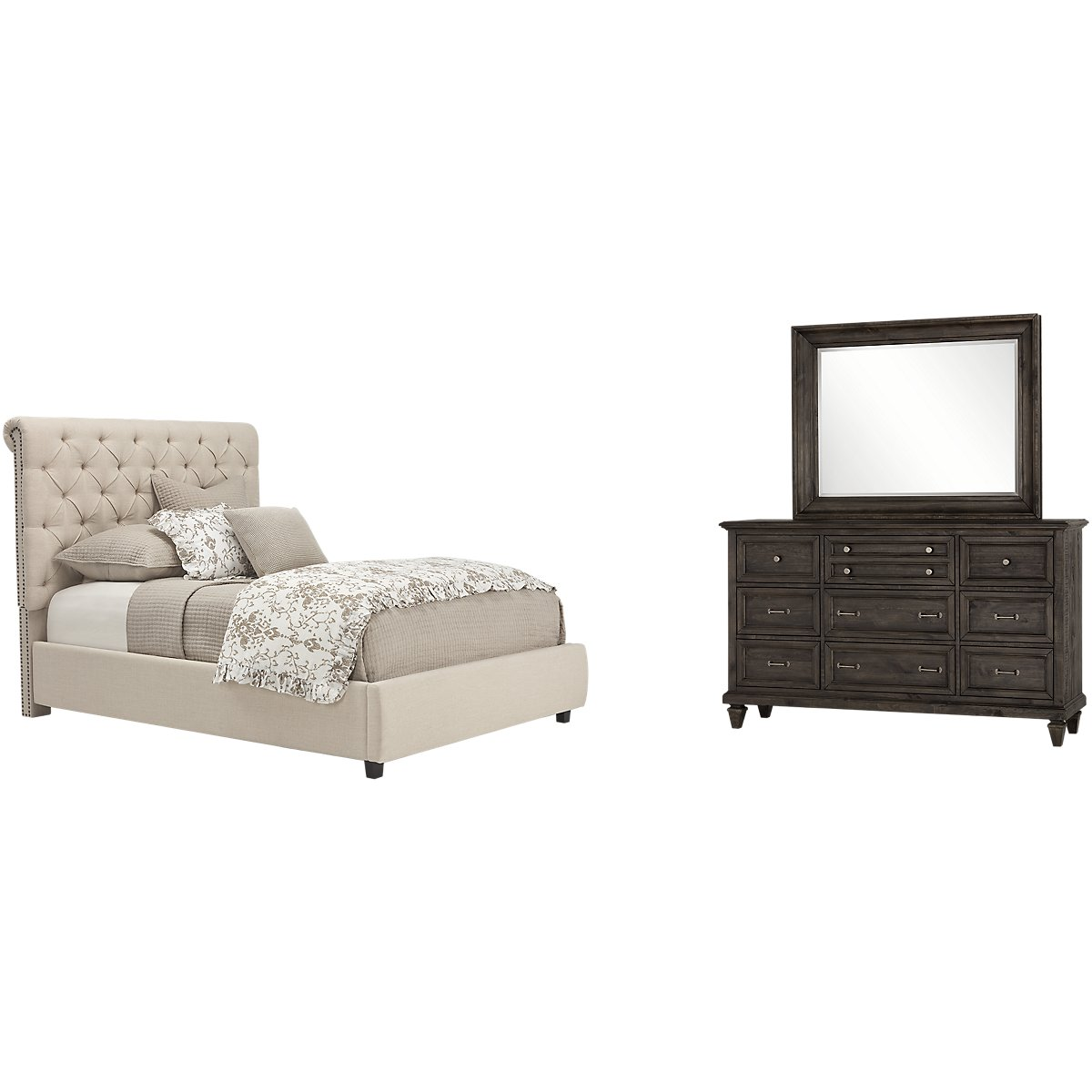 Durham Beige Upholstered Platform Bedroom