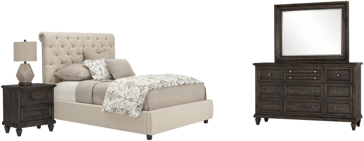 Durham Beige Fabric Platform Bedroom