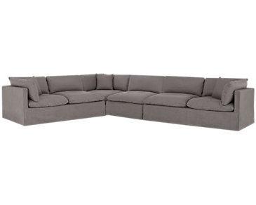 Raegan Gray Fabric Large Two-Arm Sectional