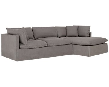 Raegan Gray Fabric Right Chaise Sectional