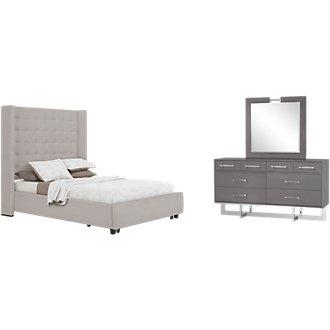 Marco Light Gray Upholstered Platform Storage Bedroom