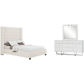 Marco White Upholstered Platform Bedroom