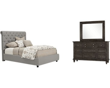 Durham Gray Upholstered Platform Bedroom