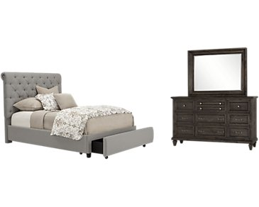Durham Gray Upholstered Platform Storage Bedroom