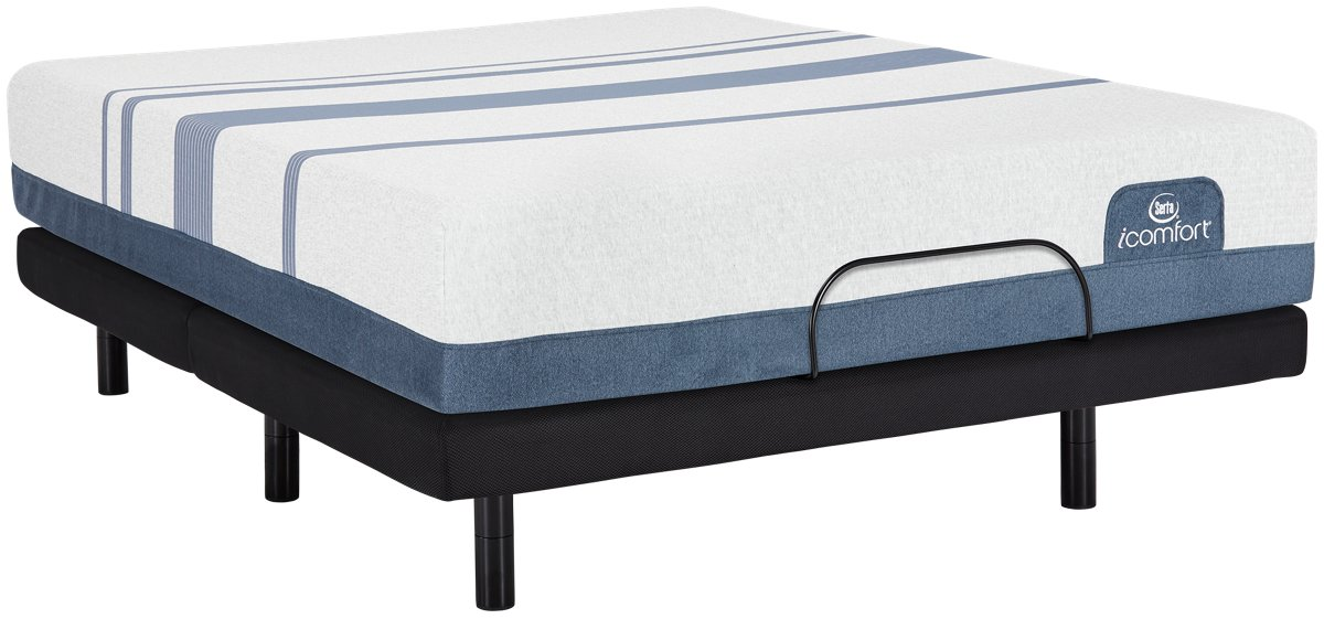 City Furniture Serta i fort Blue 300 Firm Elevate Adjustable Mattress Set
