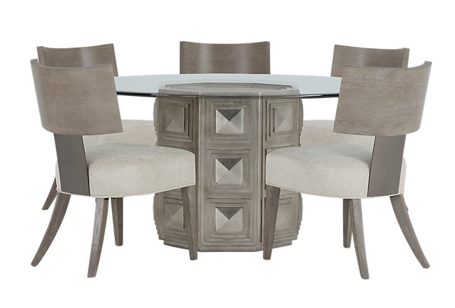 Mosaic Light Tone Round Table 4 Wood Chairs