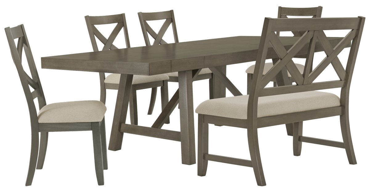 Omaha Gray Wood Table, 4 Chairs & Bench