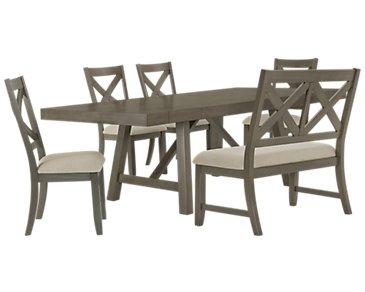 Omaha Gray Table, 4 Chairs & Bench