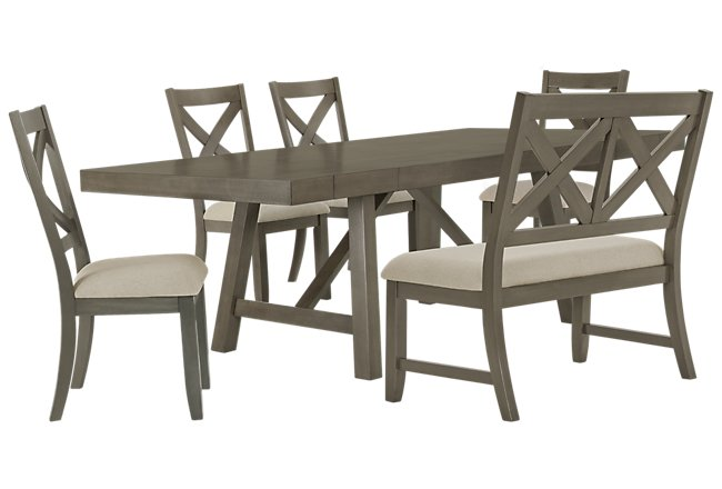 Omaha Gray Wood Table, 4 Chairs & Bench
