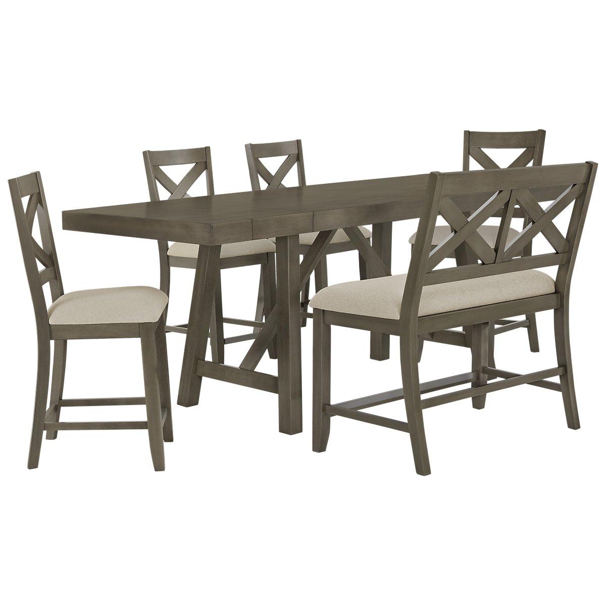 Omaha Gray Wood High Table, 4 Barstools & High Bench