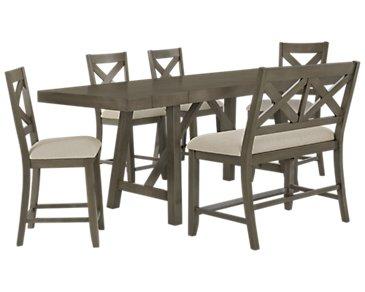 Omaha Gray High Table, 4 Barstools & High Bench