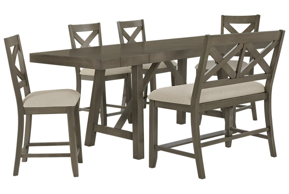 Wondrous Omaha Gray High Table 4 Barstools High Bench Dining Squirreltailoven Fun Painted Chair Ideas Images Squirreltailovenorg