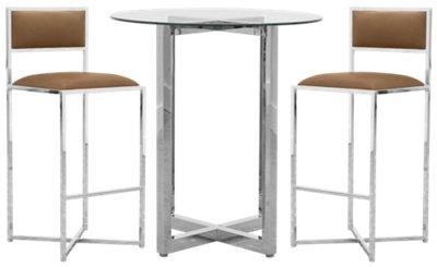 Amalfi Brown Glass Pub Table U0026 2 Metal Barstools