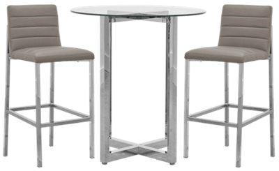 Amalfi Taupe Glass Pub Table U0026 2 Upholstered Barstools