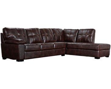 Henry Dark Brown Microfiber Right Bumper Sectional