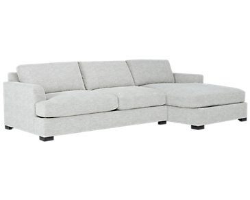 Adriana Light Gray Fabric Right Chaise Sectional