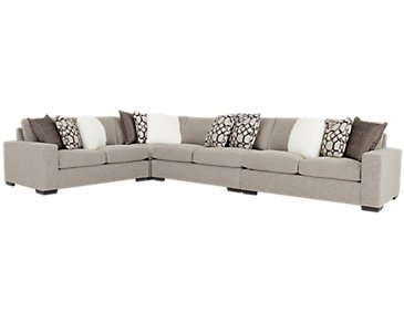 Orlando Brown Fabric Large Two-Arm Sectional