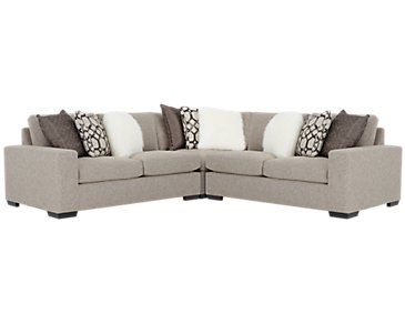 Orlando Brown Fabric Small Two-Arm Sectional