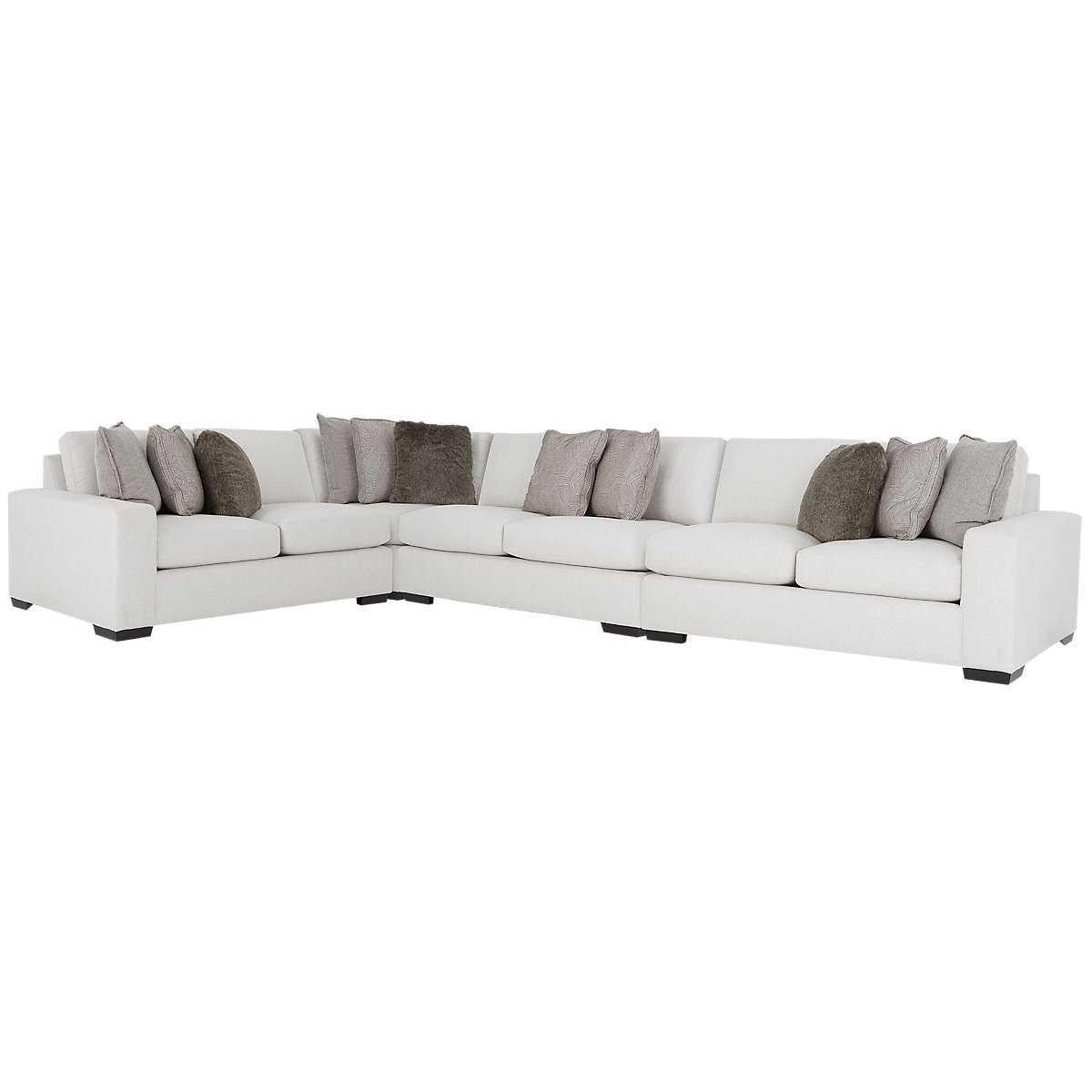 Orlando Light Gray Fabric Large Two-Arm Sectional | Living Room ...