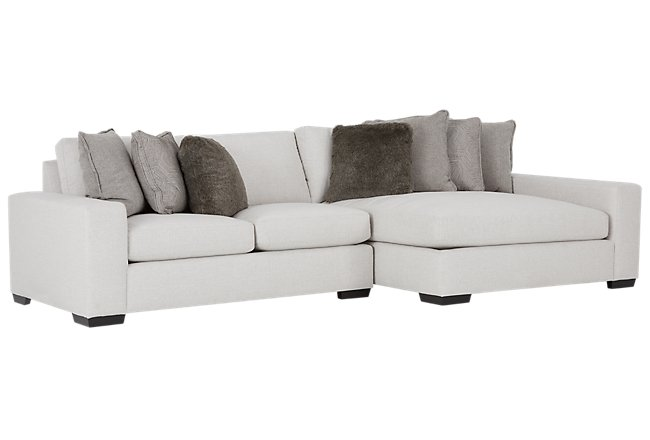 Orlando Light Gray Fabric Right Chaise Sectional | Living Room ...