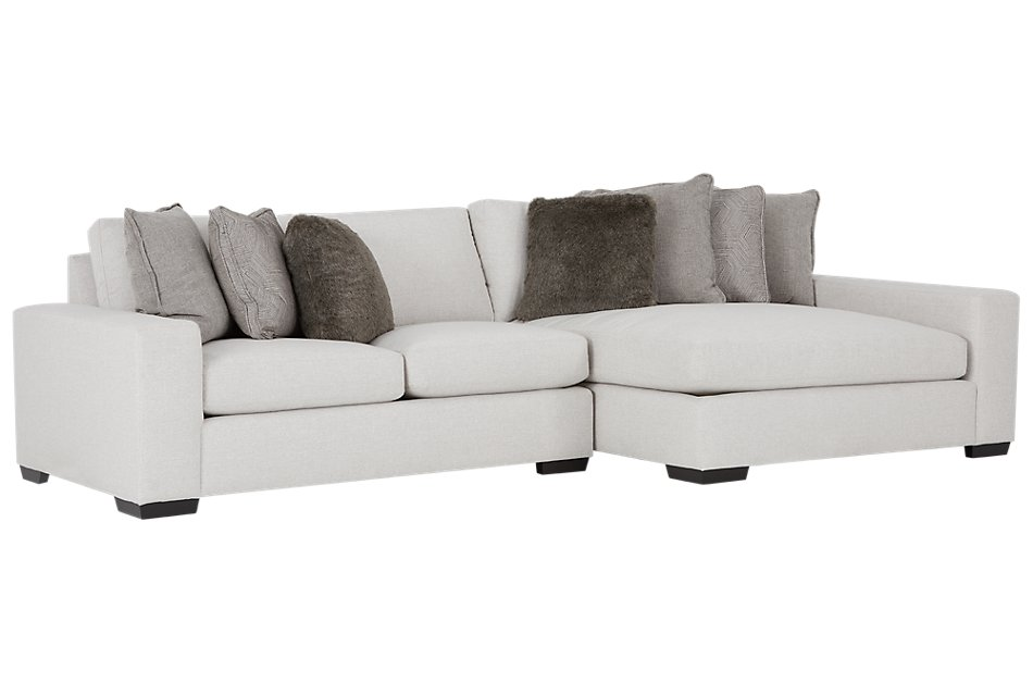 Orlando Light Gray Fabric Right Chaise Sectional | Living ...