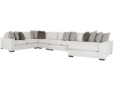 Orlando Light Gray Fabric Large Right Chaise Sectional