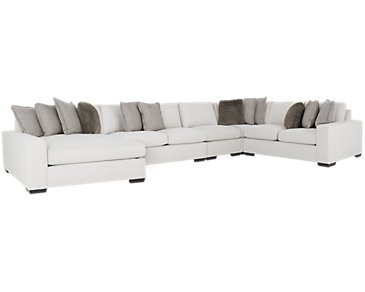 Orlando Light Gray Fabric Large Left Chaise Sectional