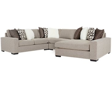 Orlando Brown Fabric Small Right Chaise Sectional