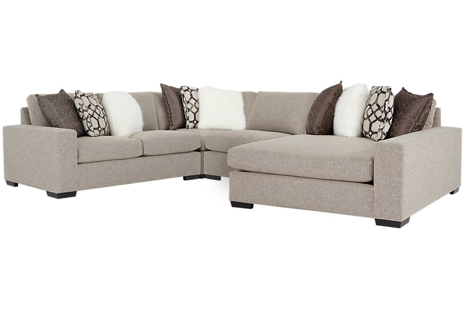 Orlando BROWN FABRIC Small Right Chaise Sectional | Living ...