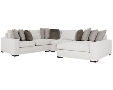 Orlando Light Gray Fabric Small Right Chaise Sectional