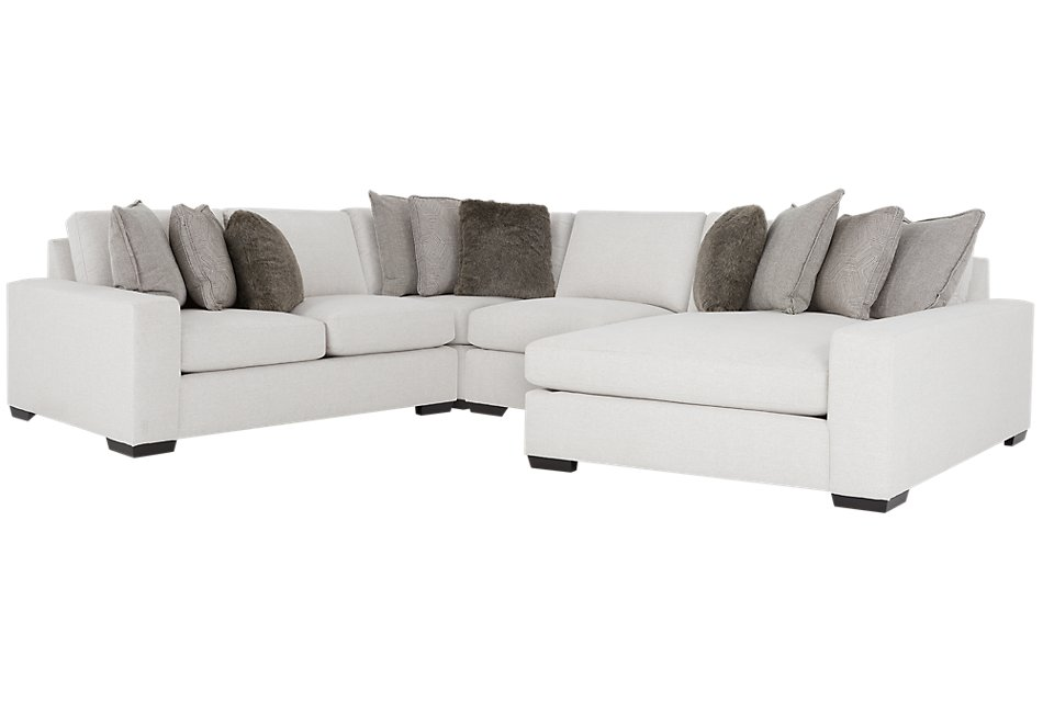 Orlando Light Gray FABRIC Small Right Chaise Sectional ...