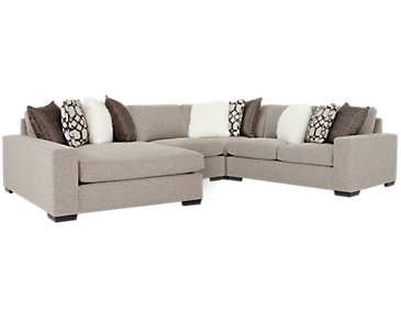 Orlando Brown Fabric Small Left Chaise Sectional