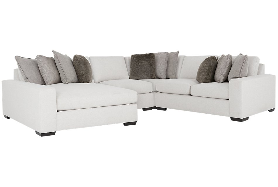 Orlando Light Gray FABRIC Small Left Chaise Sectional ...