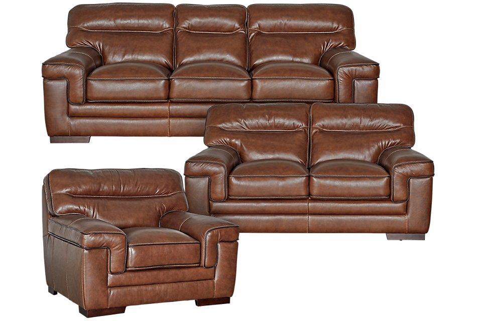 Alexander Medium Brown Leather Living Room