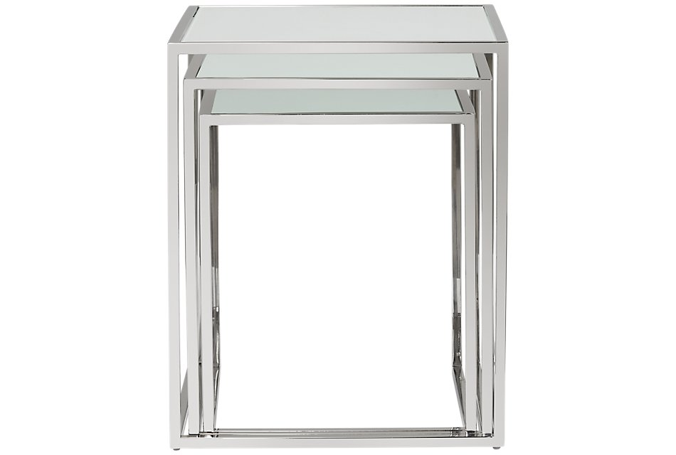 Eve White Glass Nesting End Table