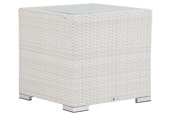 Biscayne White End Table